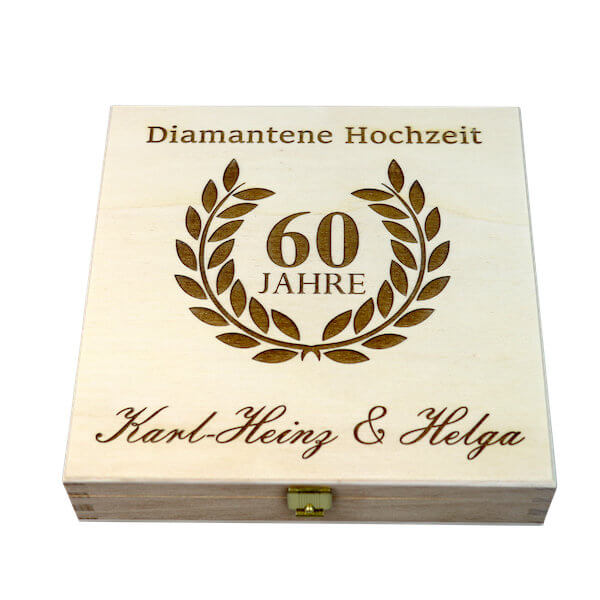 gl ckshufeisen mit geschenkbox diamantene hochzeit 60 jahre. Black Bedroom Furniture Sets. Home Design Ideas